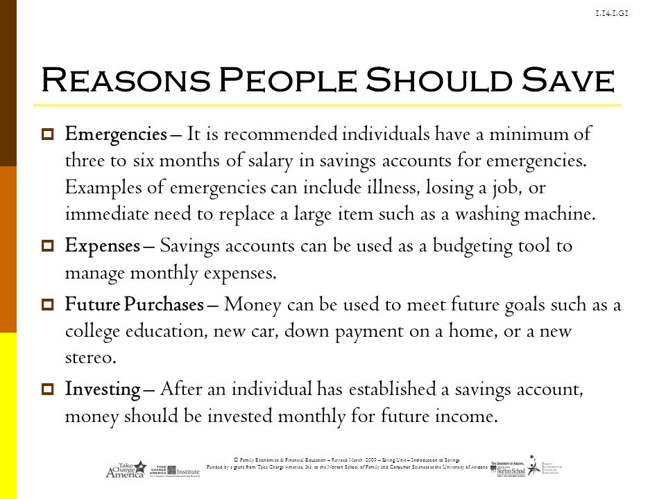 Reasons People Should Save