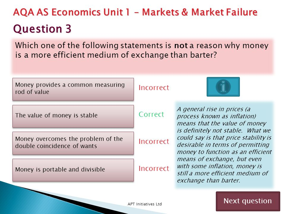 Question 3 AQA AS Economics Unit 1 – Markets & Market Failure