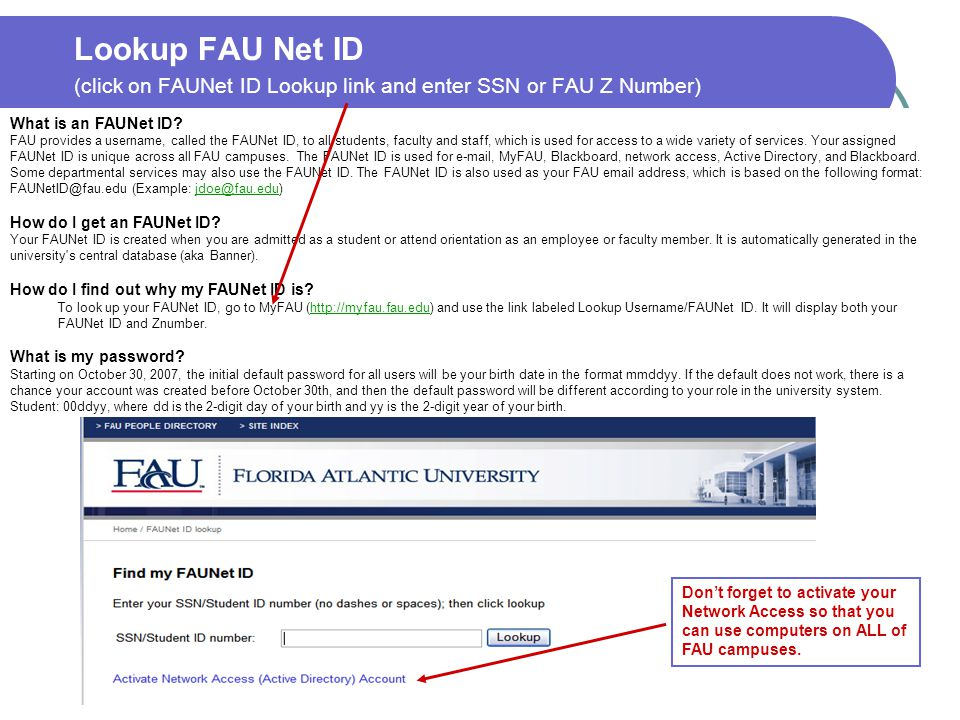 Lookup FAU Net ID (click on FAUNet ID Lookup link and enter SSN or FAU Z Number)