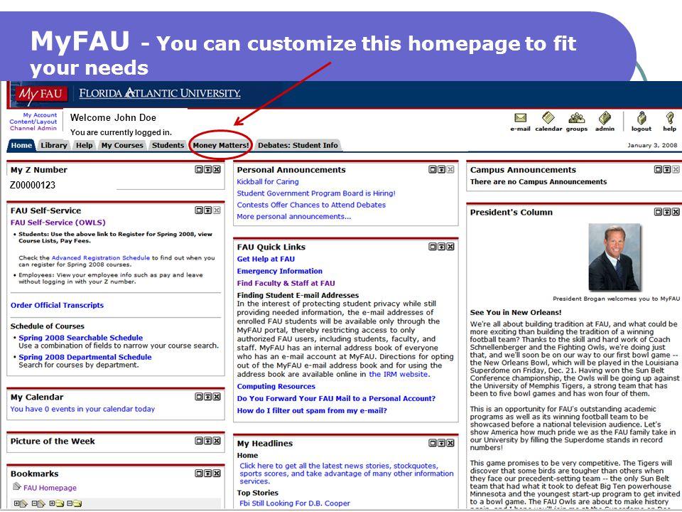 MyFAU - You can customize this homepage to fit your needs
