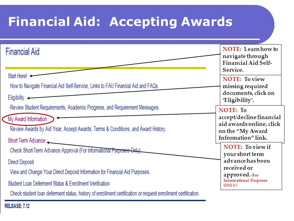 Financial Aid: Accepting Awards