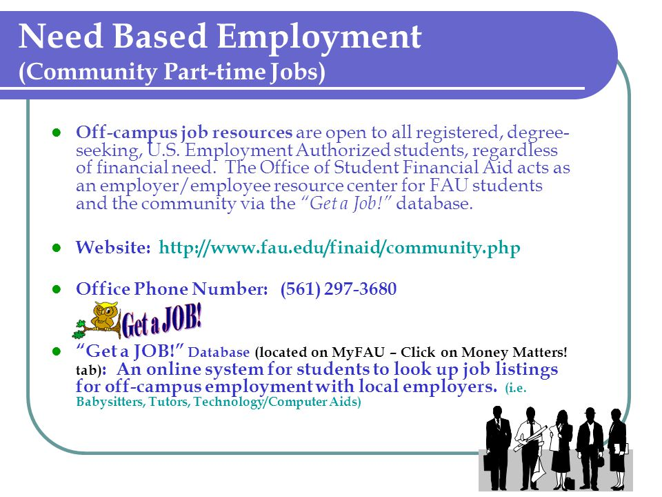 Need Based Employment (Community Part-time Jobs)