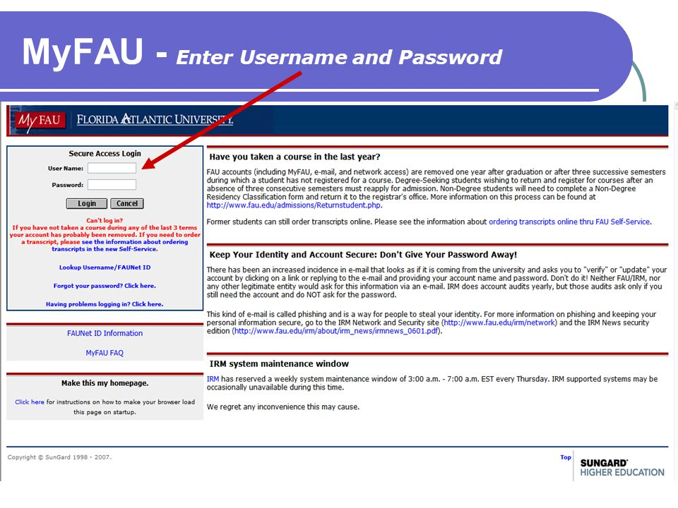 MyFAU - Enter Username and Password