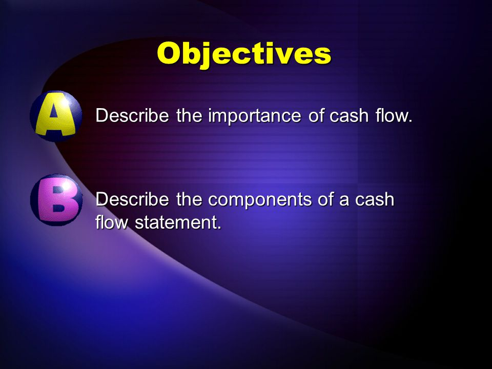 Objectives Describe the importance of cash flow.