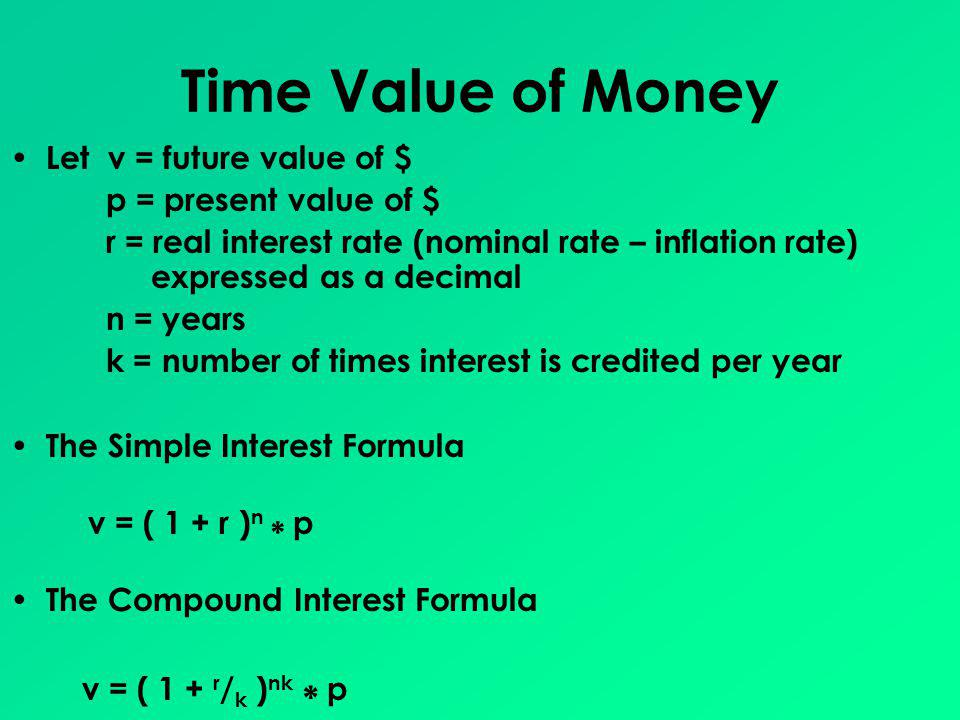 Time Value of Money Let v = future value of $ p = present value of $