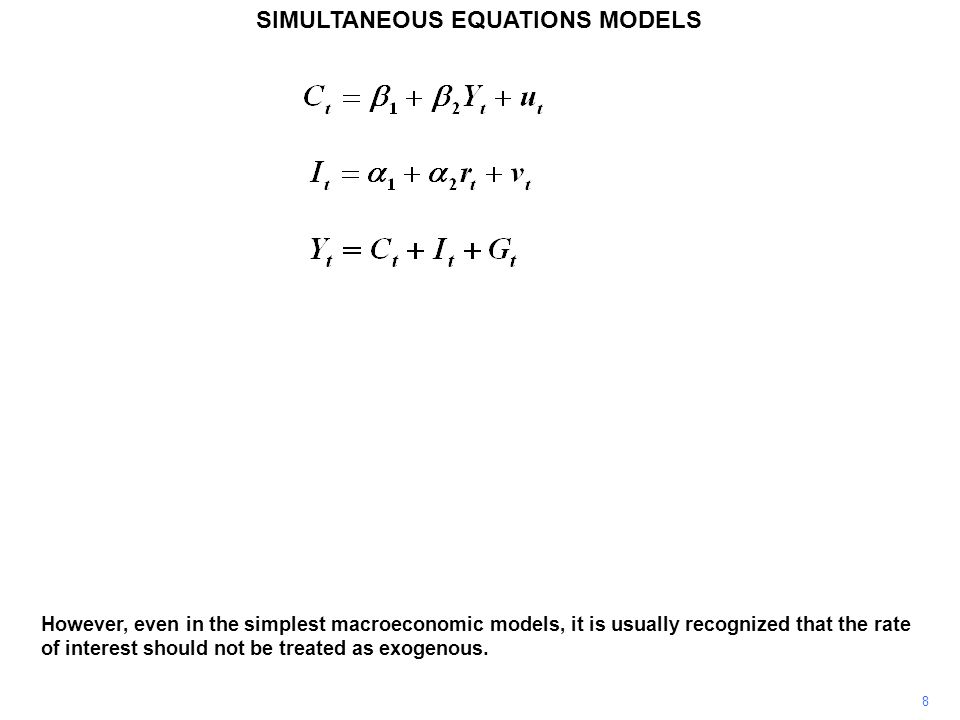 SIMULTANEOUS EQUATIONS MODELS