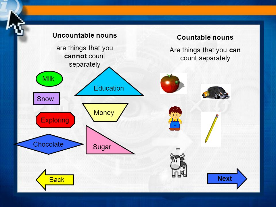 Uncountable nouns Countable nouns Next
