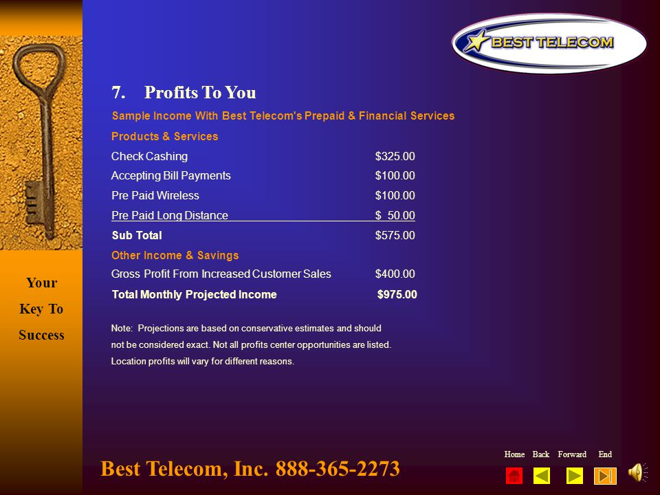 Best Telecom, Inc. 888-365-2273 7. Profits To You
