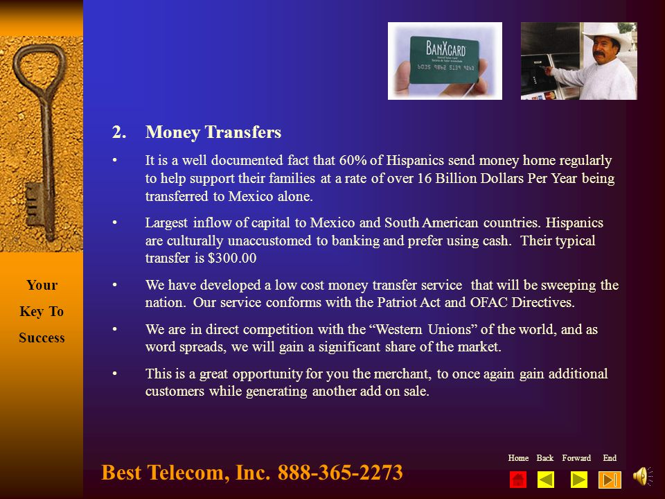 Best Telecom, Inc. 888-365-2273 2. Money Transfers