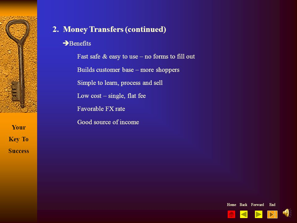 2. Money Transfers (continued)