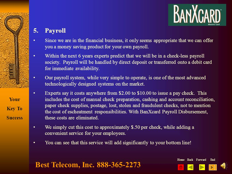 Best Telecom, Inc. 888-365-2273 5. Payroll