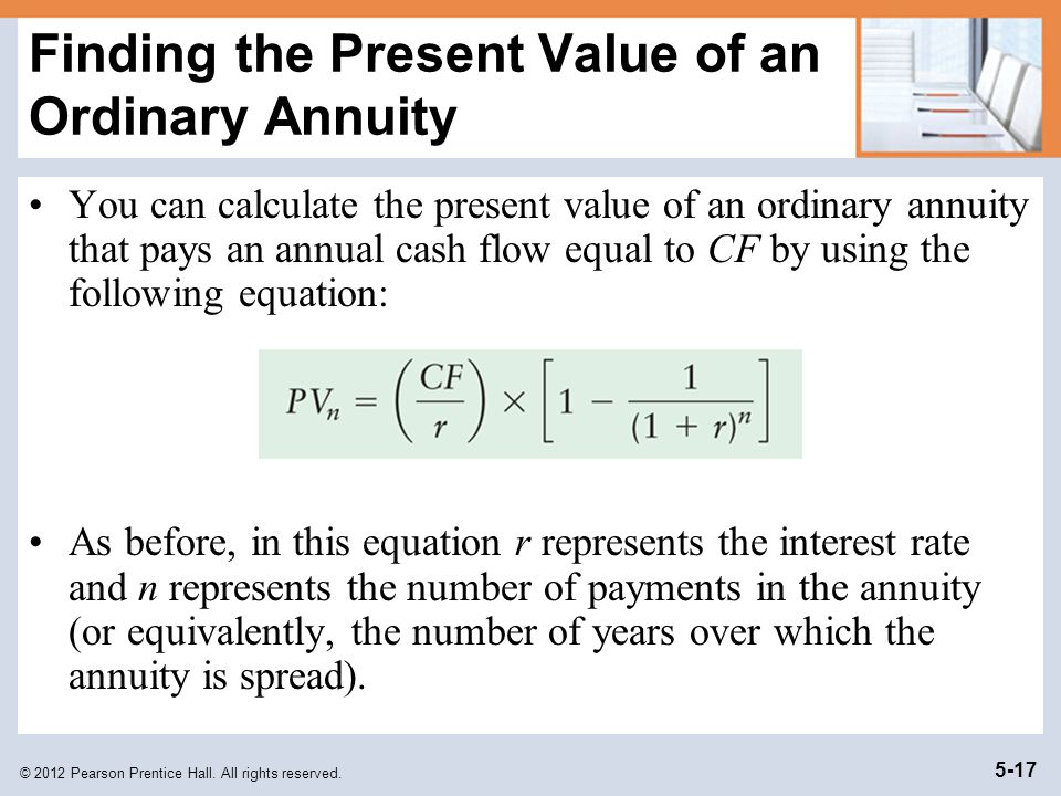 Finding the Present Value of an Ordinary Annuity