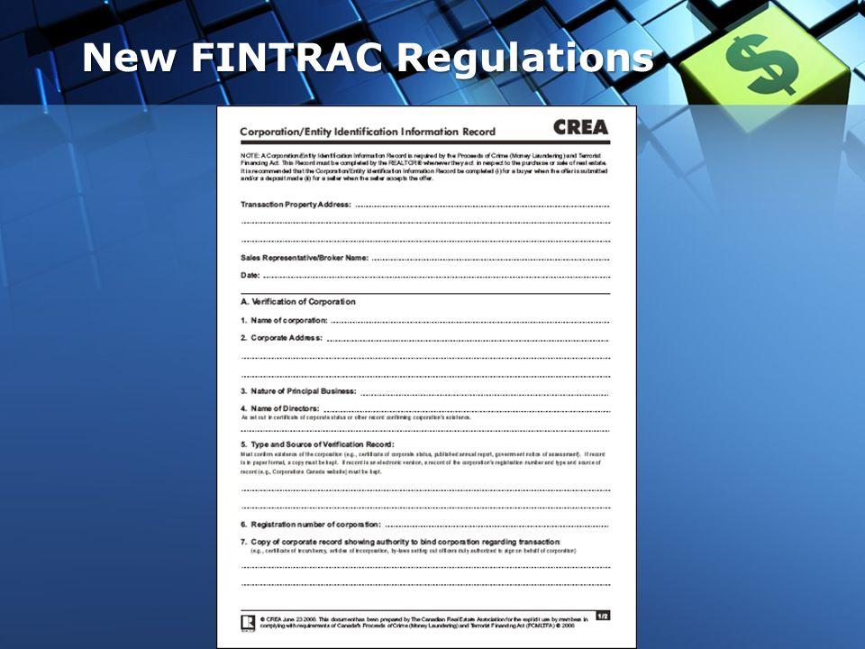 New FINTRAC Regulations