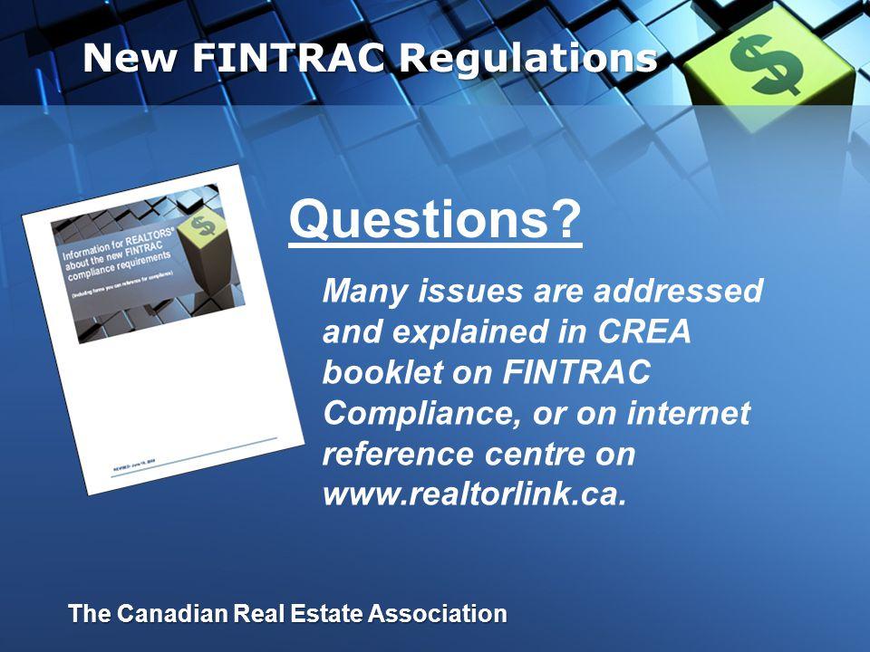 Questions New FINTRAC Regulations