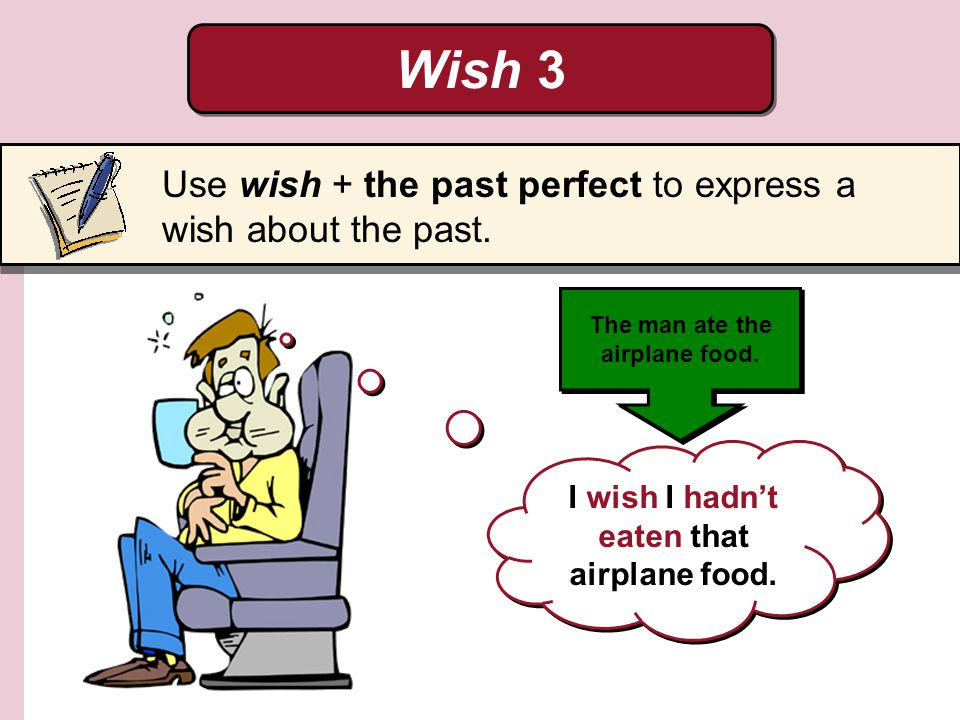 Wish 3 Use wish + the past perfect to express a wish about the past.