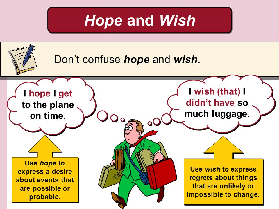 Hope and Wish Don't confuse hope and wish.