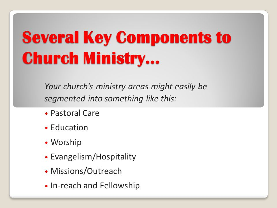 Several Key Components to Church Ministry…