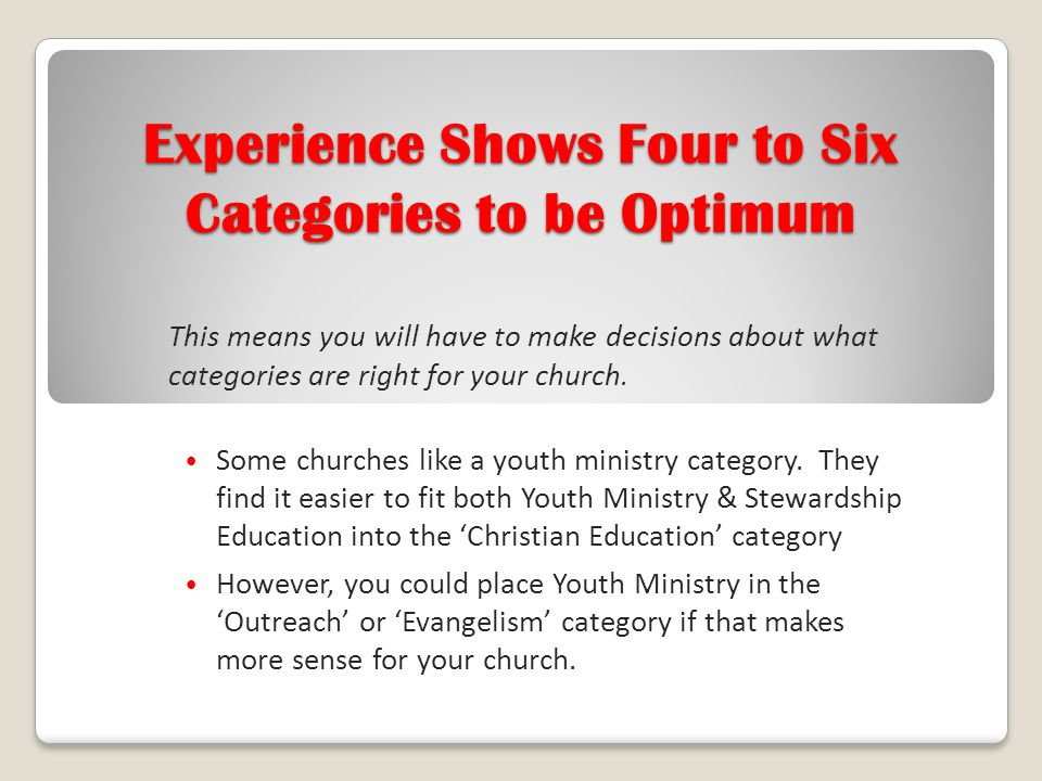 Experience Shows Four to Six Categories to be Optimum
