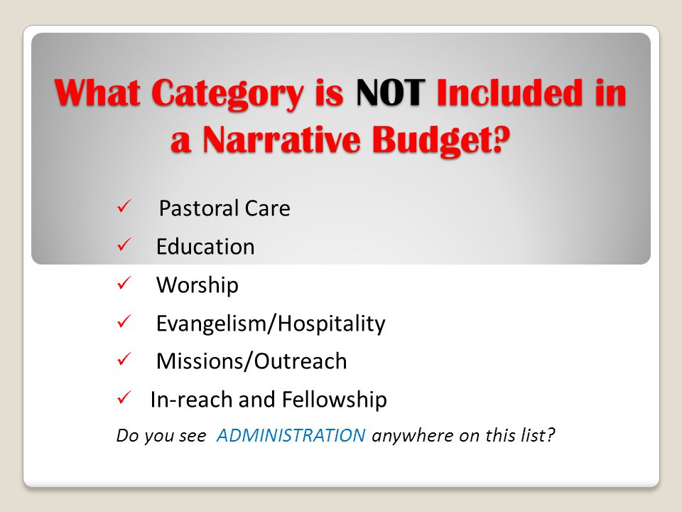 What Category is NOT Included in a Narrative Budget