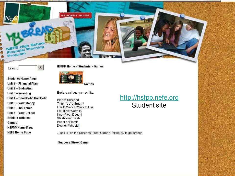 http://hsfpp.nefe.org Student site http://hsfpp.nefe.org/home/