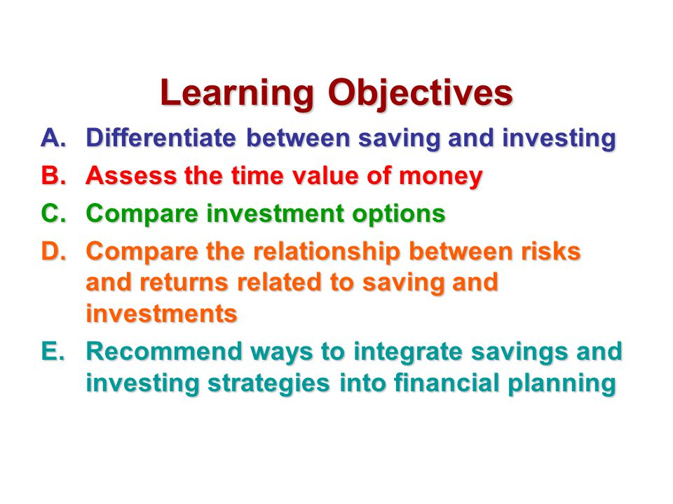 Learning Objectives Differentiate between saving and investing