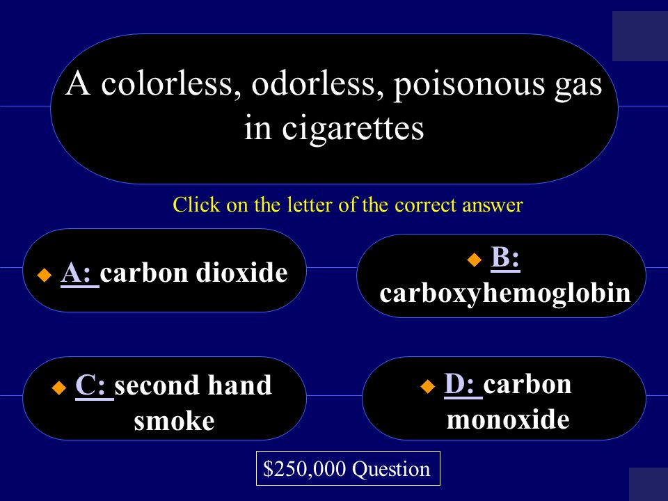 A colorless, odorless, poisonous gas in cigarettes