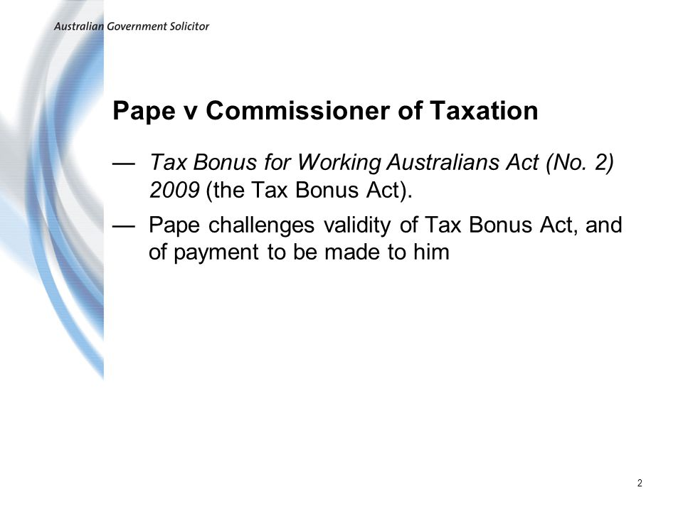 Pape v Commissioner of Taxation