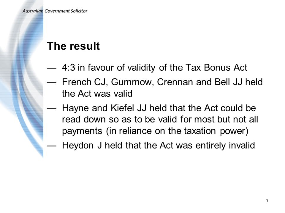 The result 4:3 in favour of validity of the Tax Bonus Act