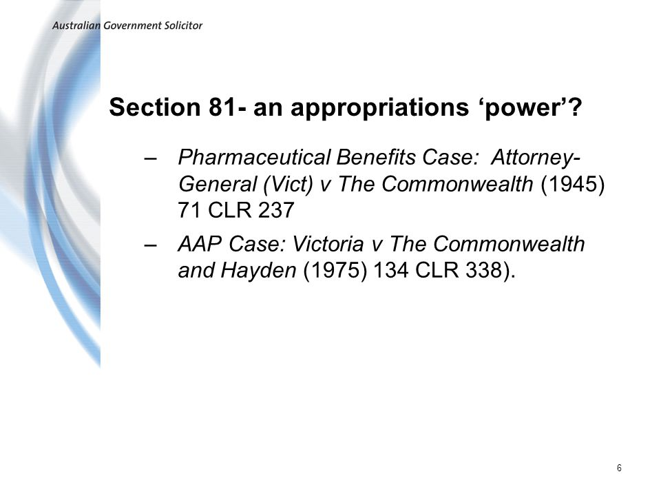 Section 81- an appropriations 'power'