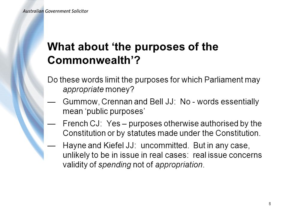 What about 'the purposes of the Commonwealth'