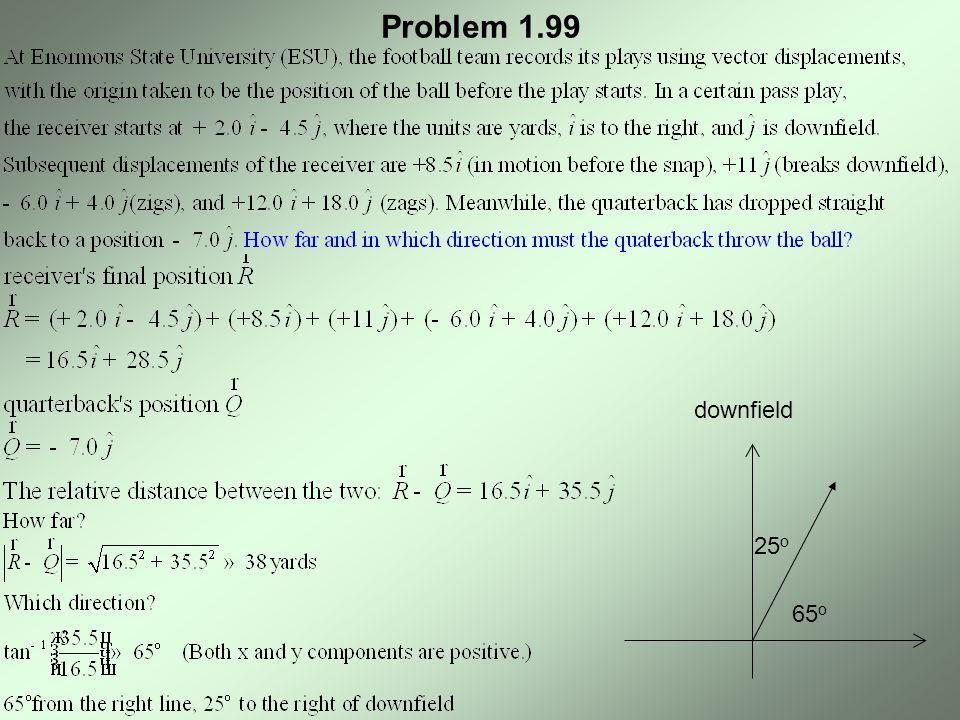 Problem 1.99 downfield 25o 65o