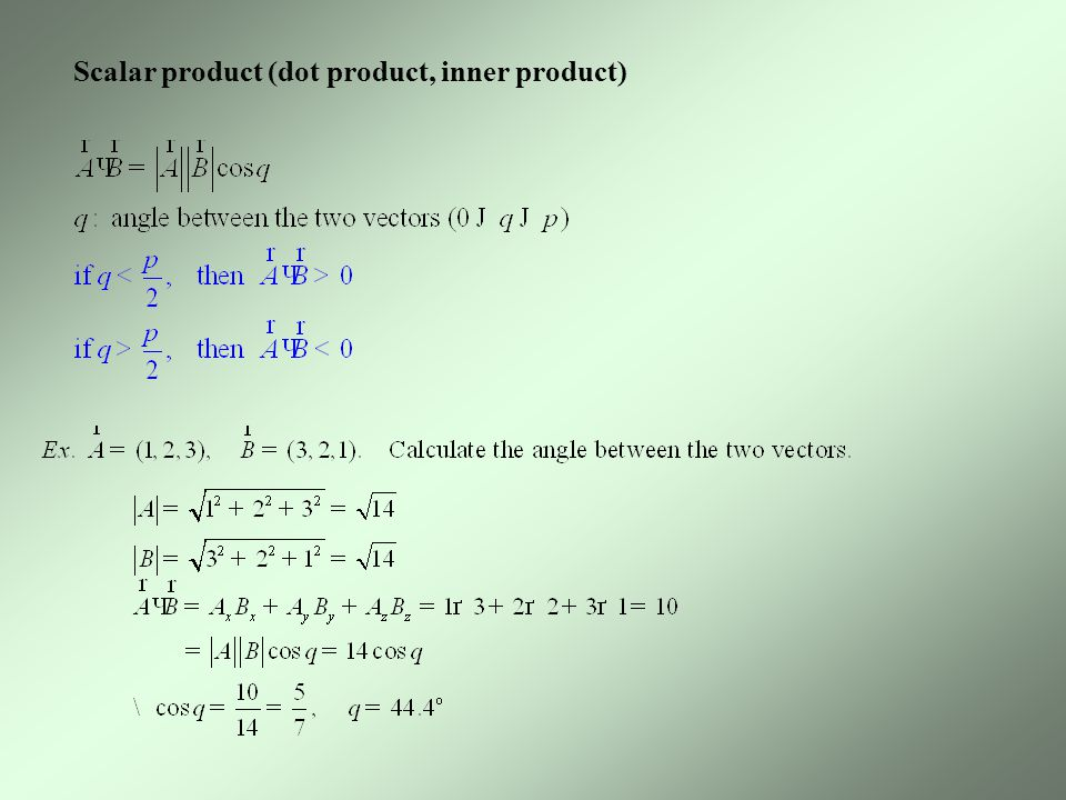 Scalar product (dot product, inner product)