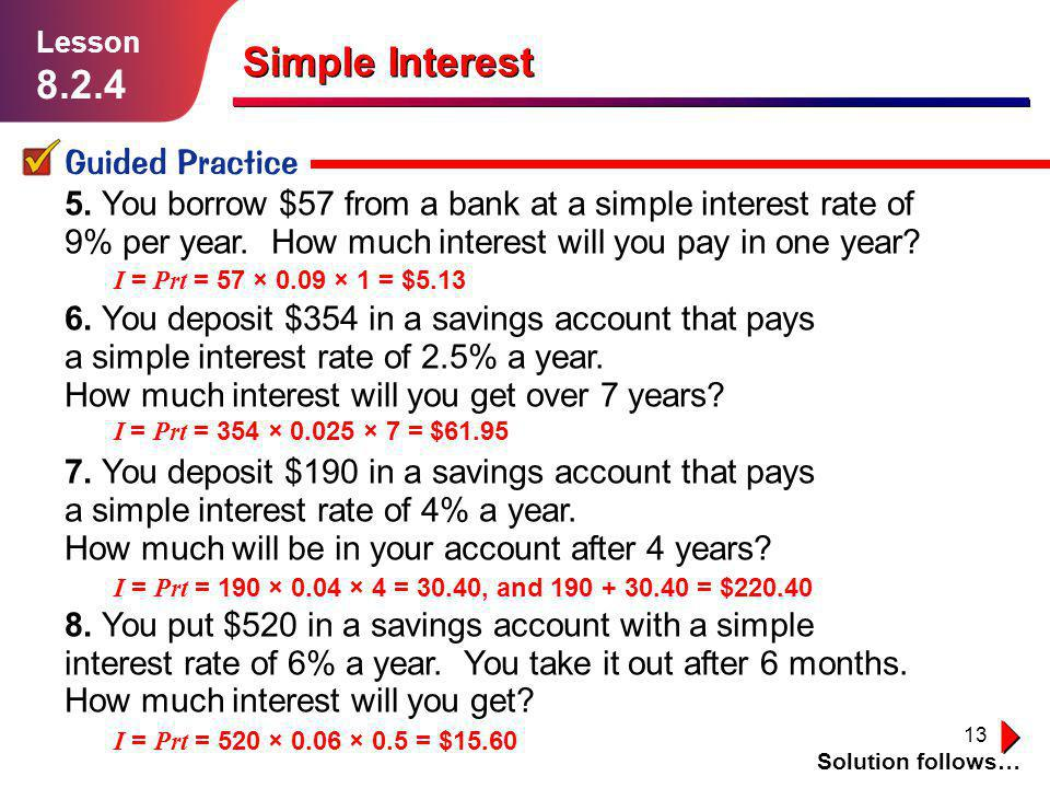8.2.4 1.1.1 Simple Interest Guided Practice