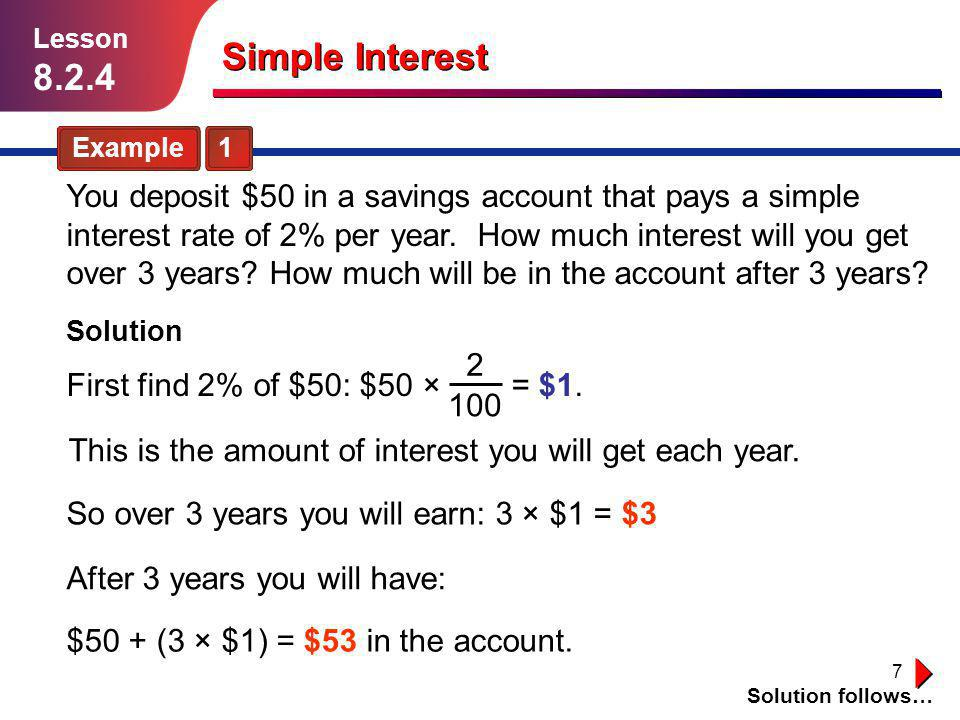 Lesson Simple Interest. Example 1.