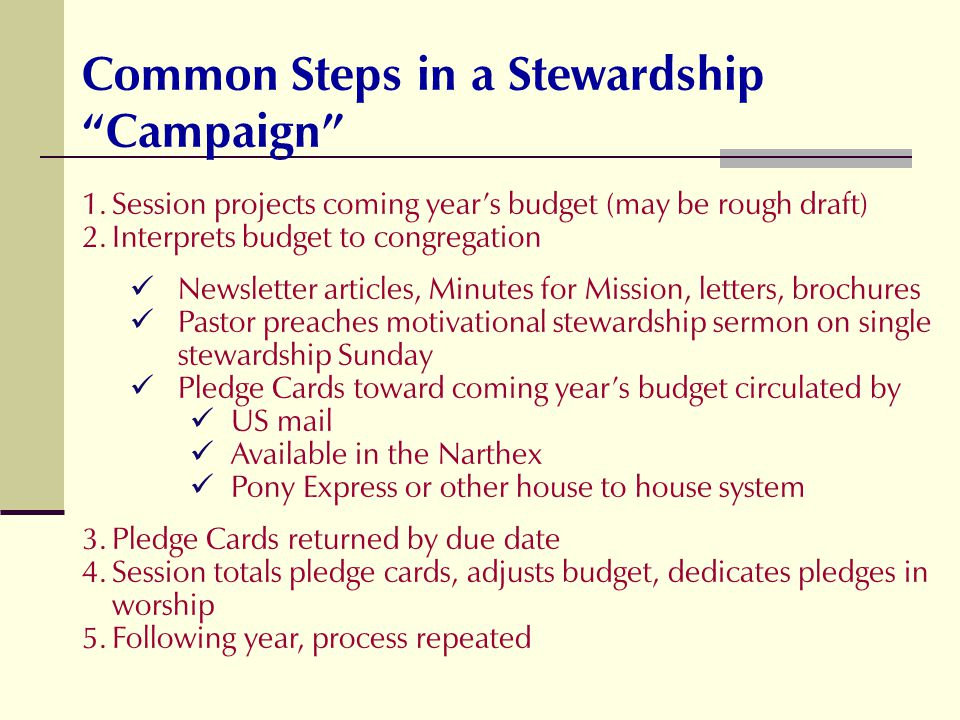 Common Steps in a Stewardship Campaign