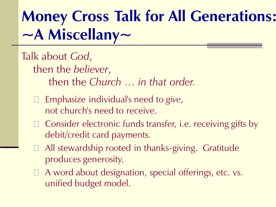 Money Cross Talk for All Generations: ~A Miscellany~