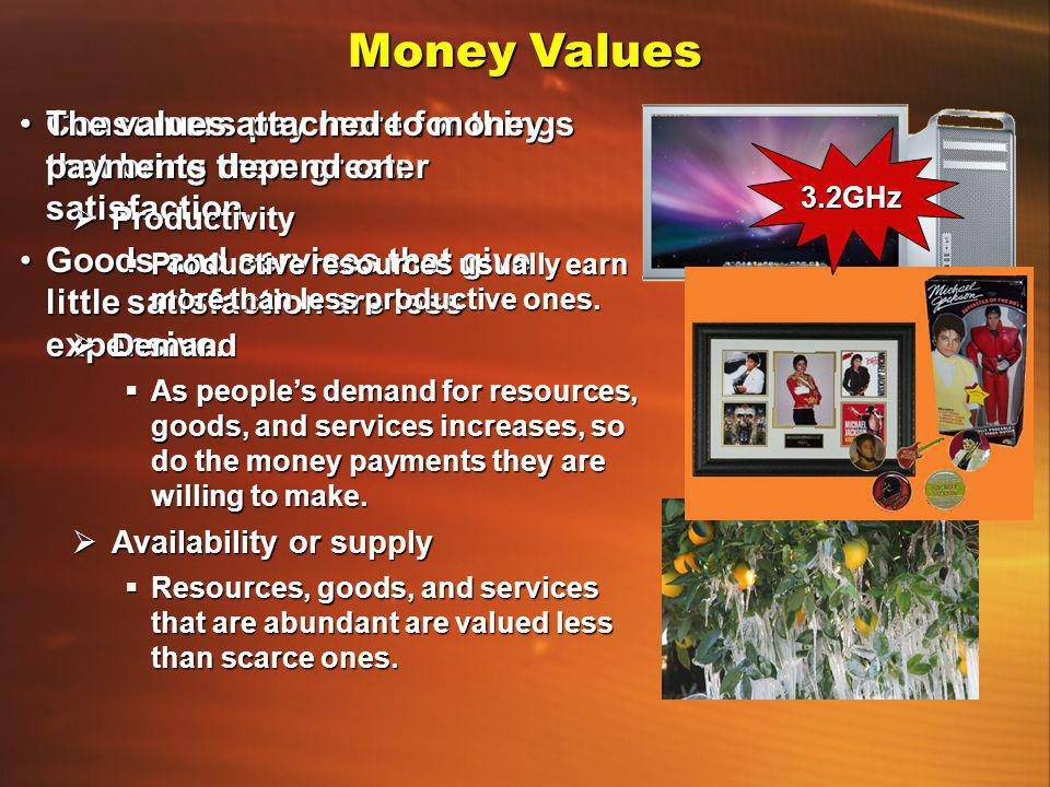 Money Values Consumers pay more for things that bring them greater satisfaction.