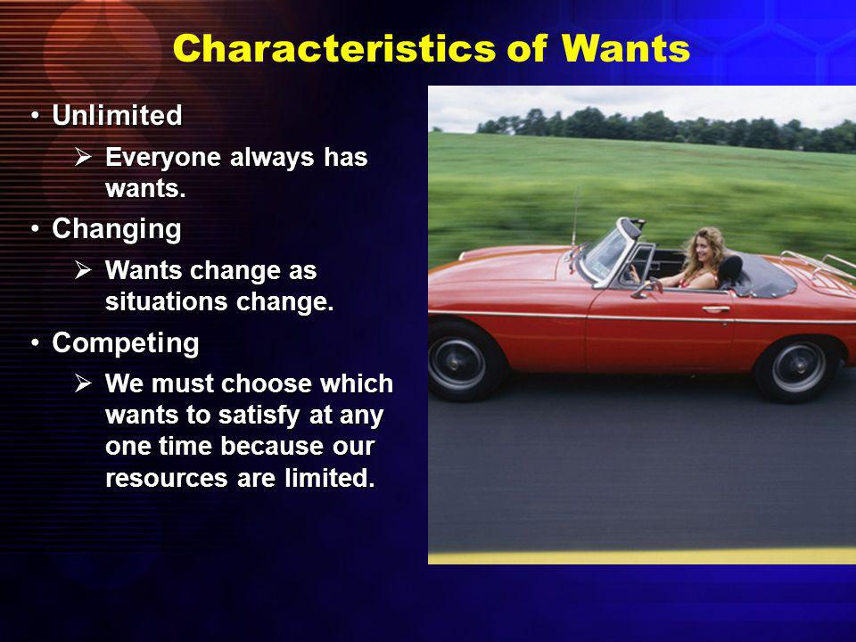 Characteristics of Wants