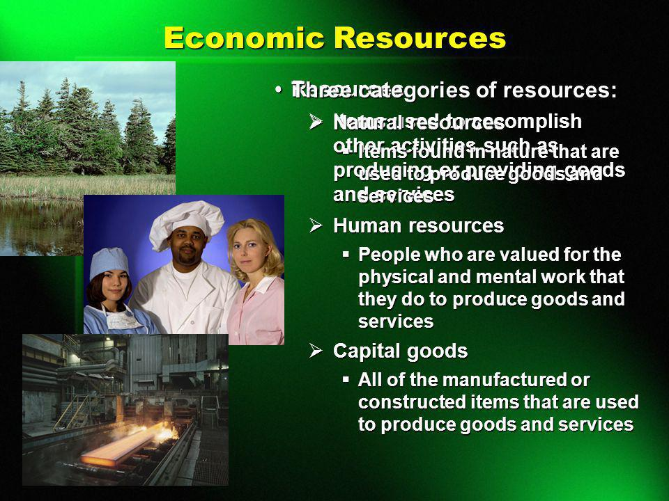Economic Resources Resources Three categories of resources: