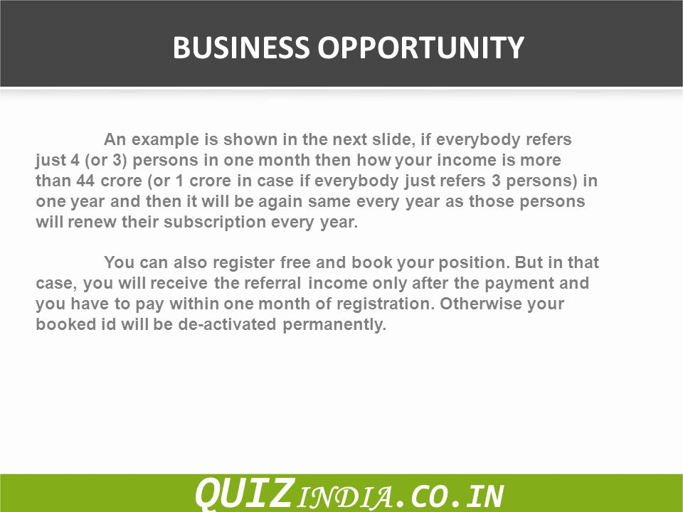 QUIZINDIA.CO.IN BUSINESS OPPORTUNITY