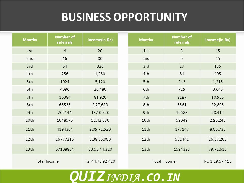 QUIZINDIA.CO.IN BUSINESS OPPORTUNITY Months Number of referrals
