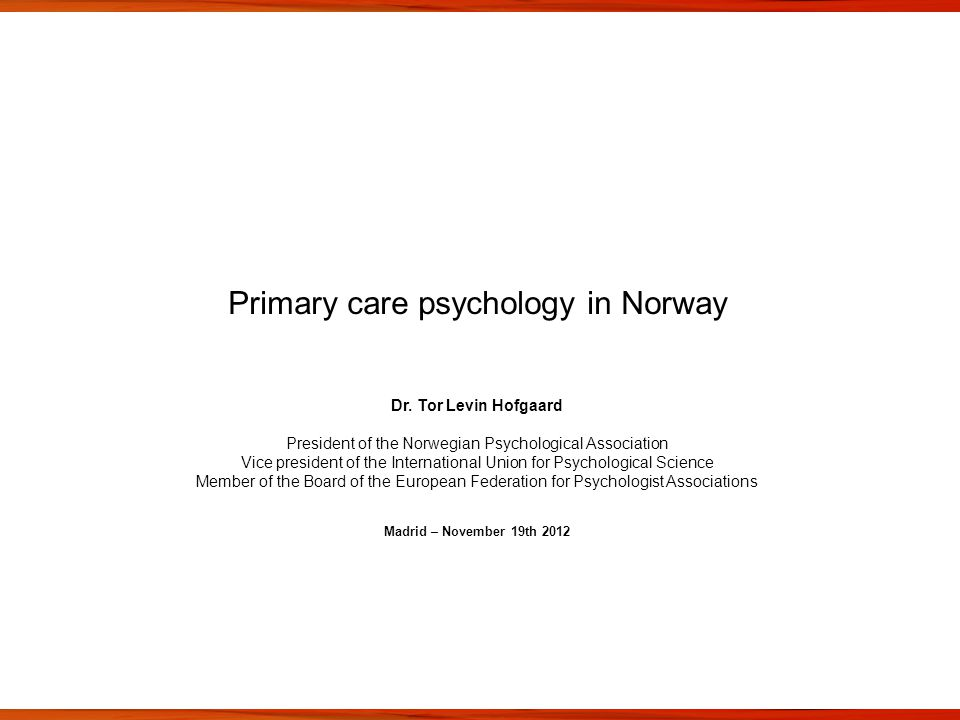 Primary care psychology in Norway