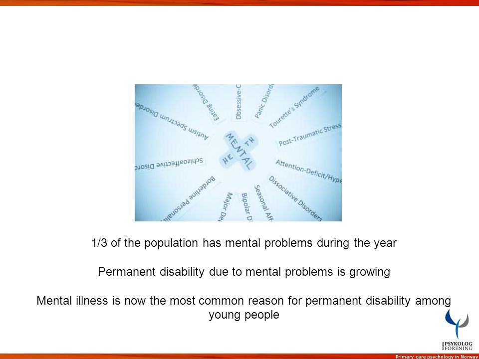 1/3 of the population has mental problems during the year