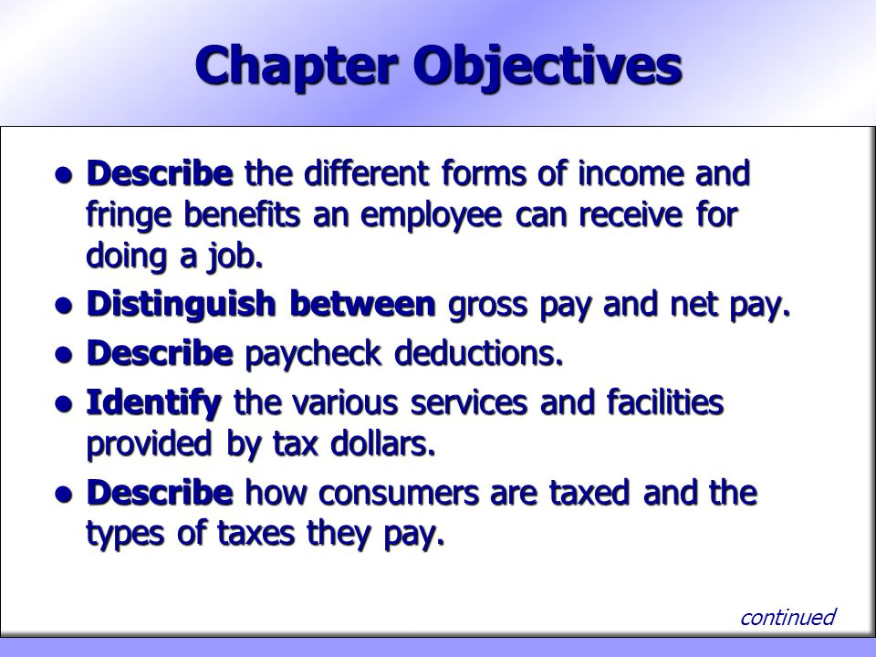 Chapter Objectives Describe the different forms of income and fringe benefits an employee can receive for doing a job.