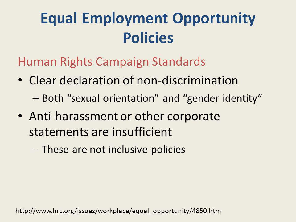 Equal Employment Opportunity Policies