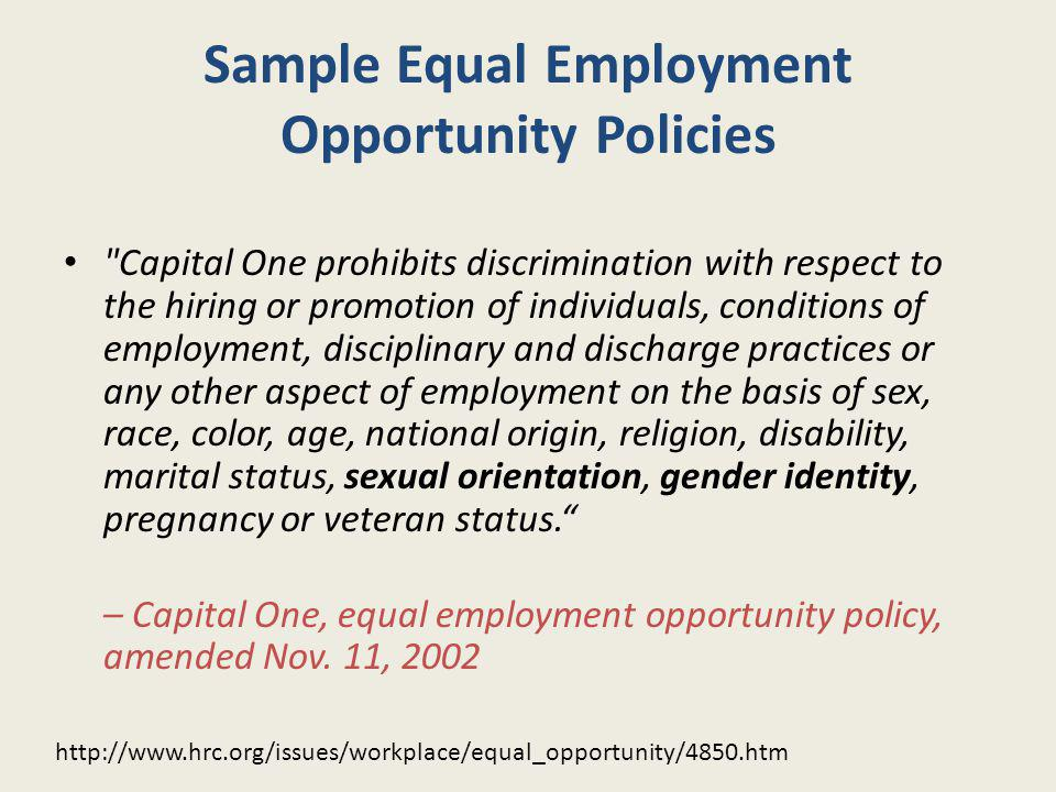 Sample Equal Employment Opportunity Policies