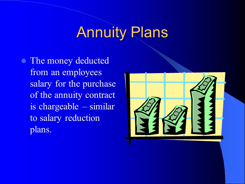 Annuity Plans The money deducted from an employees salary for the purchase of the annuity contract is chargeable – similar to salary reduction plans.