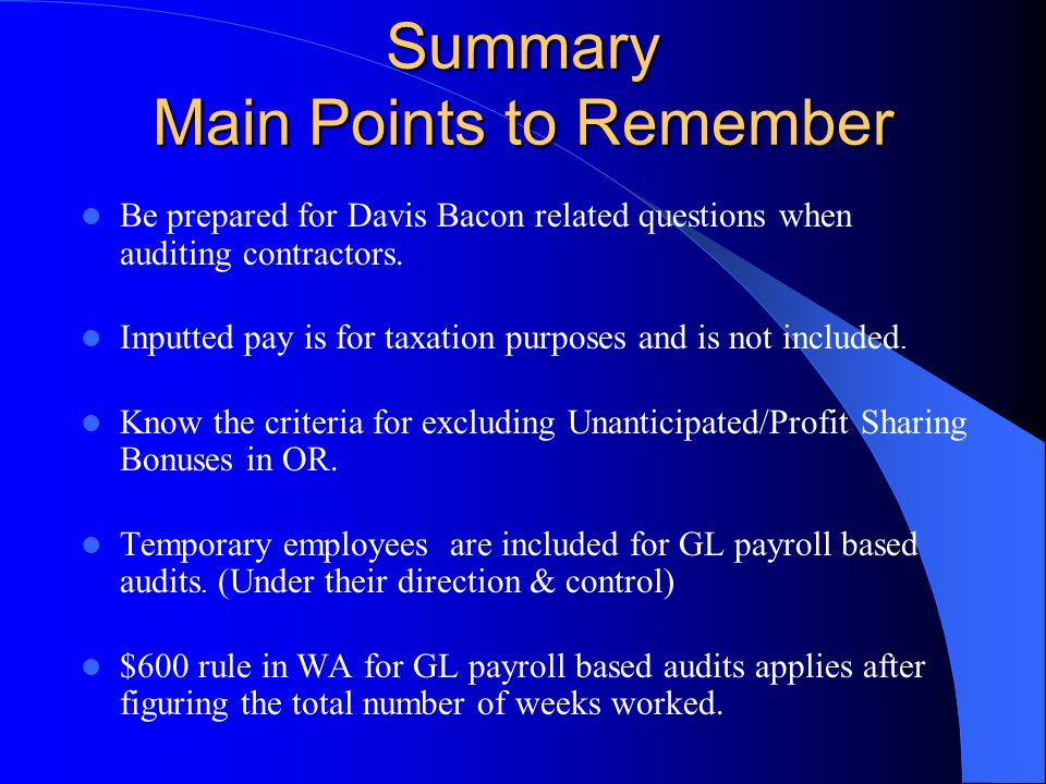 Summary Main Points to Remember