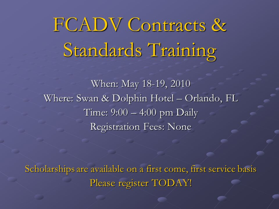 FCADV Contracts & Standards Training