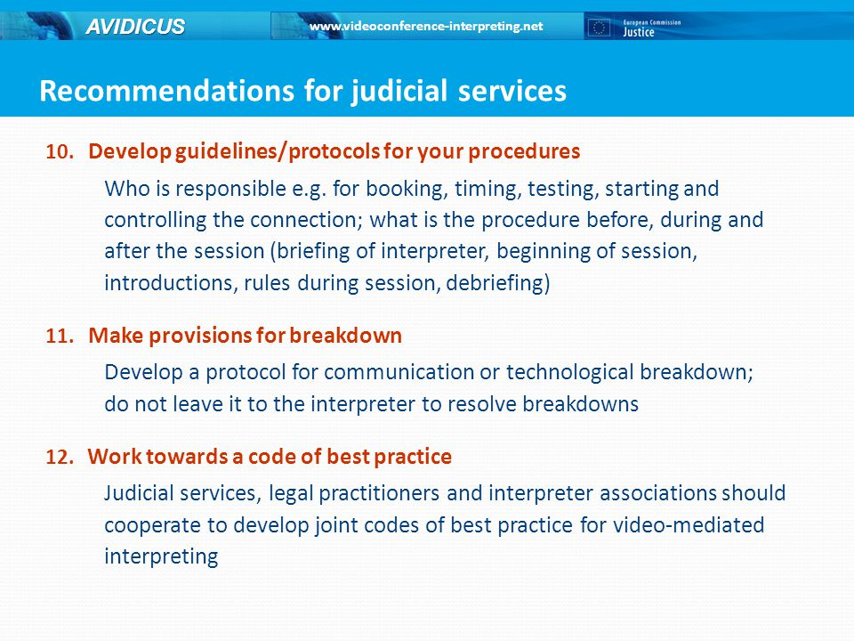 Recommendations for judicial services